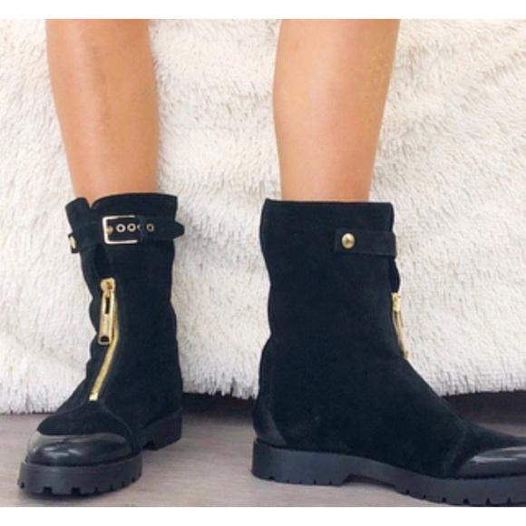 new concept de6ec 8c0b5 Burberry Shoes - Burberry Lambskin Lined Suede Moto Winter Boots